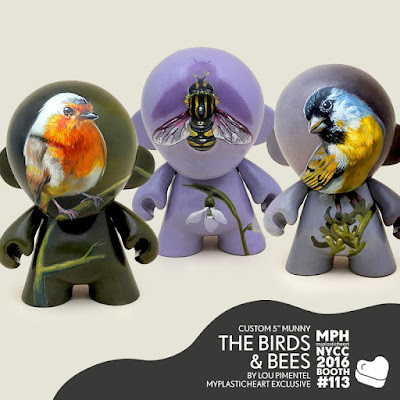 "New York Comic Con 2016 Exclusive The Birds & Bees Custom 5"" Mini Munny Vinyl Figures by Lou Pimentel x myplasticheart"
