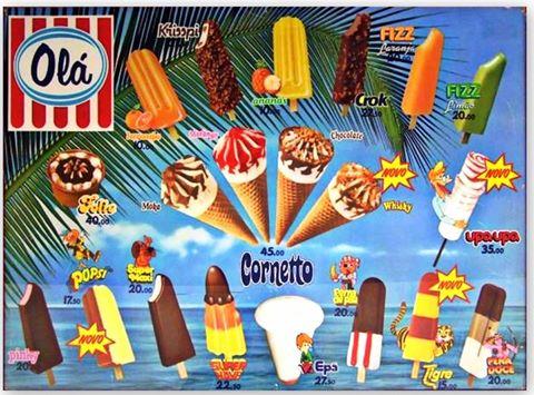 ... deste cartaz de gelados da Olá de 1984