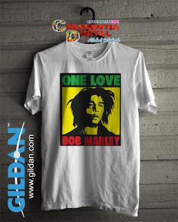 Baju Kaos Distro Bob Marley Poster Warna Putih