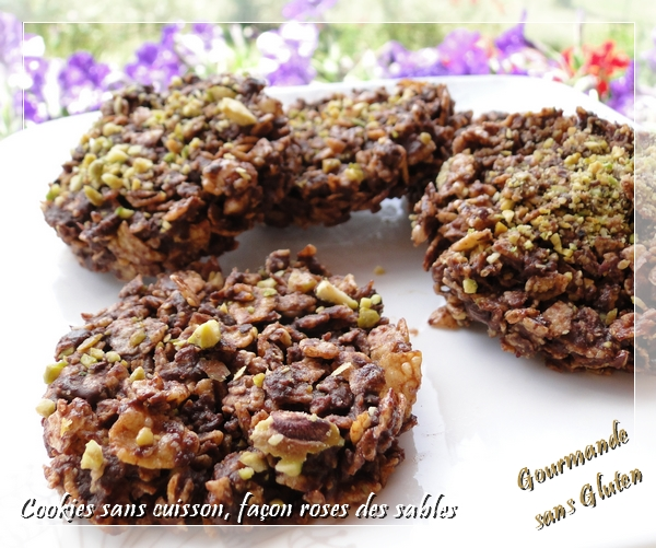 Cookies sans cuisson, façon roses des sables