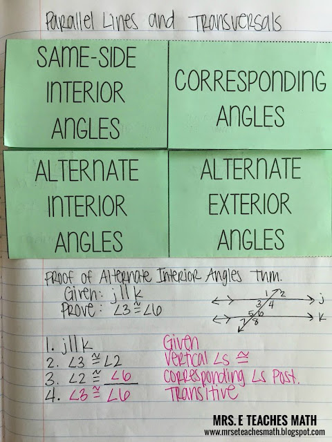 Parallel Lines with Transversals Foldable - an interactive notebook page idea for geometry