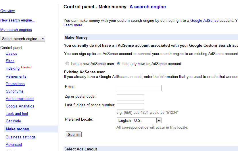 custom search integrate AdSense