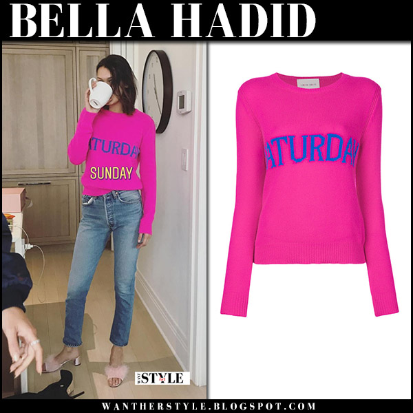 Bella Hadid in hot pink Saturday sweater alberta ferretti and jeans winter celebrity style december 3