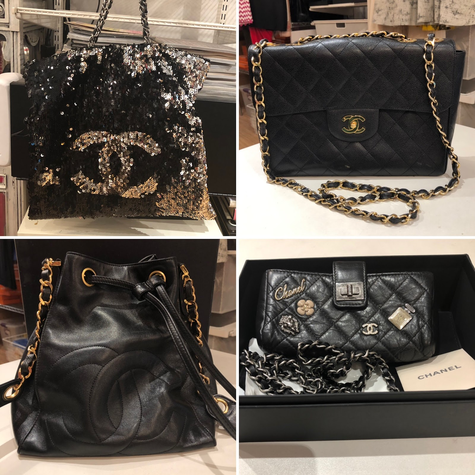 ce78b4a5b0a761 Top: Chanel Black/Silver Sequin Summer Night Drawstring Tote Bag Chanel  Vintage Single Flap Bag (sold), they do have a Jumbo Double Flap that I LOVE