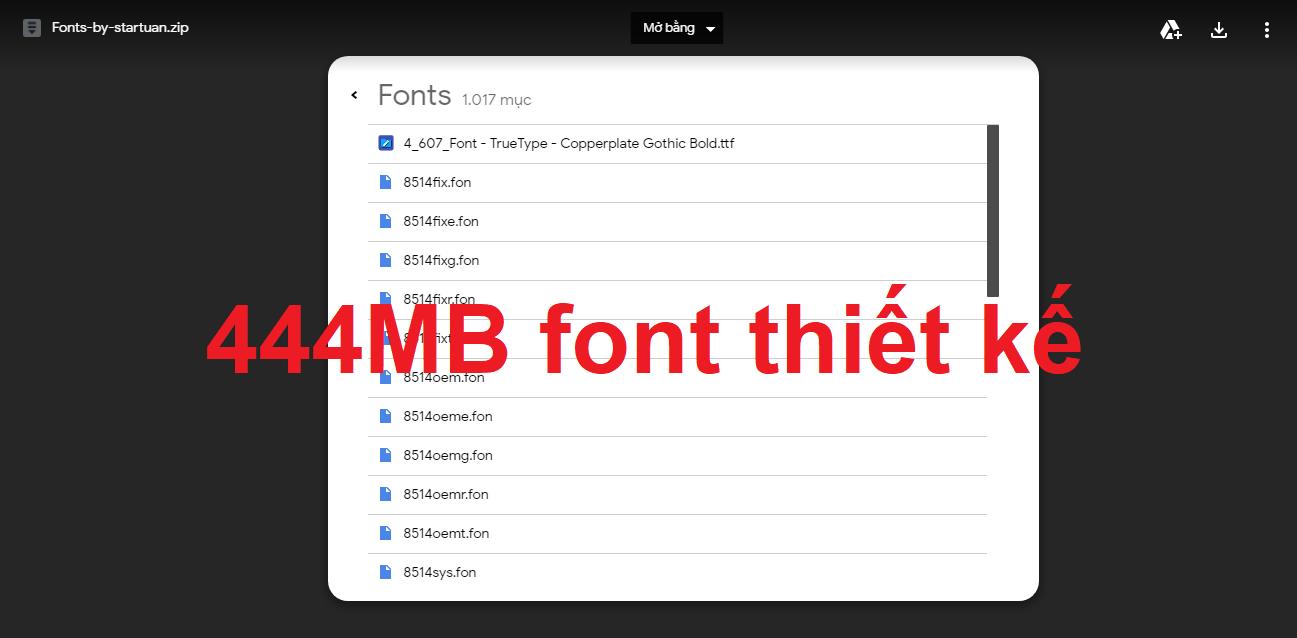Chia sẻ bộ font thiết kế của Star Tuấn IT gần 445MB
