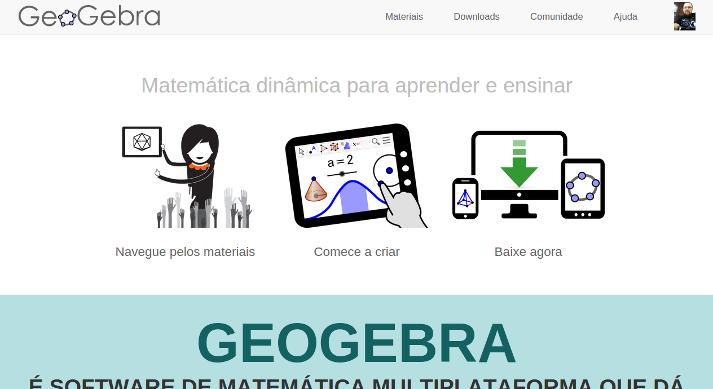 Página inicial do novo site do GeoGebra - 02/10/2014