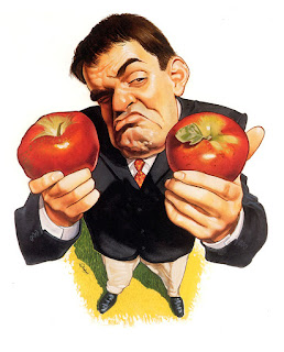 patrick dea, comparaison, pomme, caricature, cartoon, aquarelle, illustration, humour