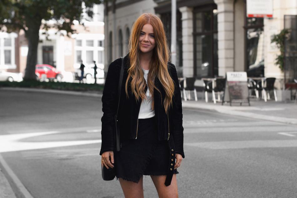 Black suede jacket, embellished jacket, round cross body bag, street style, Kiara King,