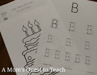 Coloring sheet; letter B tracing sheet