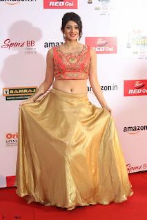Harshika Ponnacha in orange blouuse brown skirt at Mirchi Music Awards South 2017 ~  Exclusive Celebrities Galleries 093.JPG