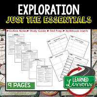 Exploration, World History Outline Notes, World History Test Prep, World History Test Review, World History Study Guide, World History Summer School Outline, World History Unit Overview, World History Interactive Notebook Inserts