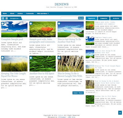 DeNews Blue Blogger Template