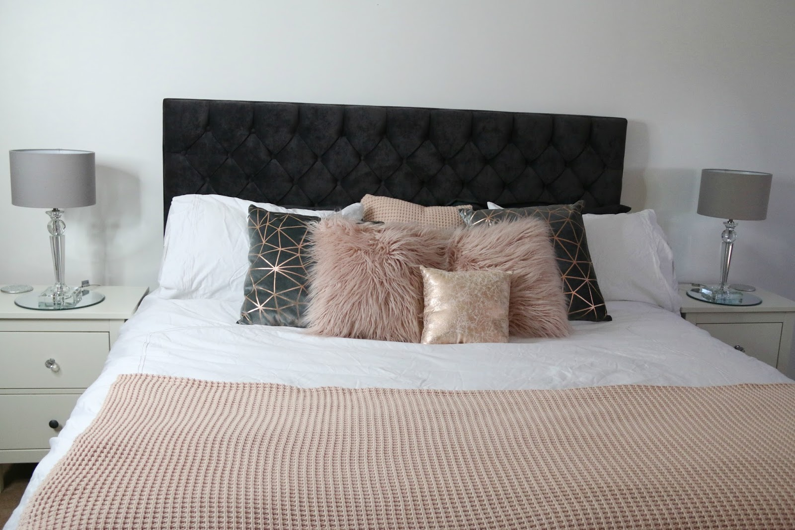 White, grey, pink and rose gold bedroom theme