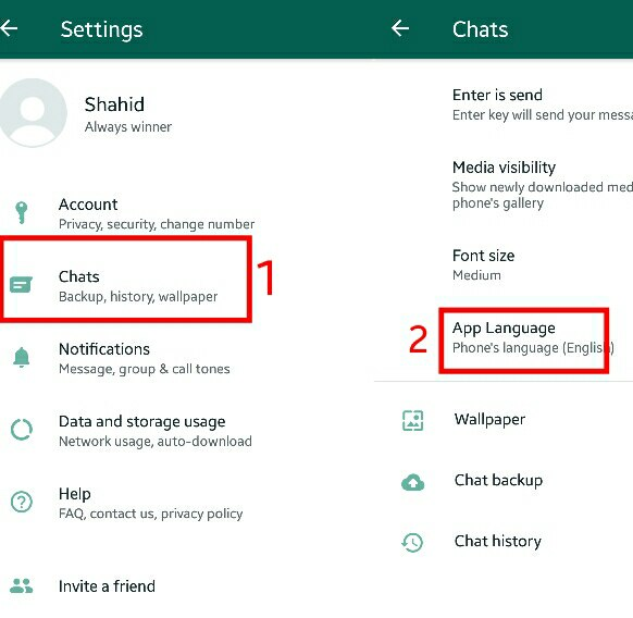 language settings in whatsapp
