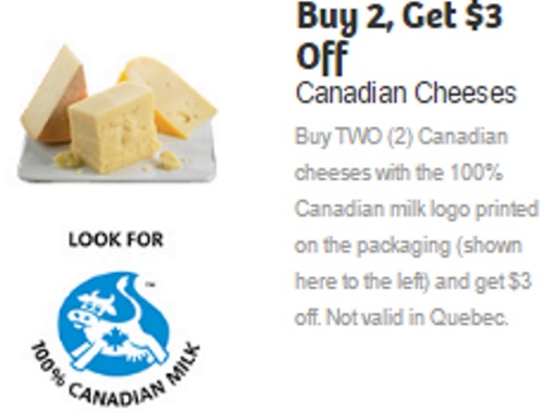 Canadian Cheese Buy 2 Get $3 Off Coupon