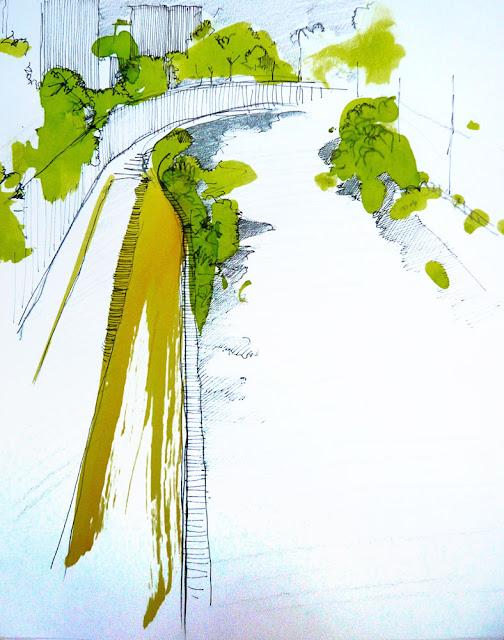 Ribera del Mapocho, croquis de Pablo Fuentes