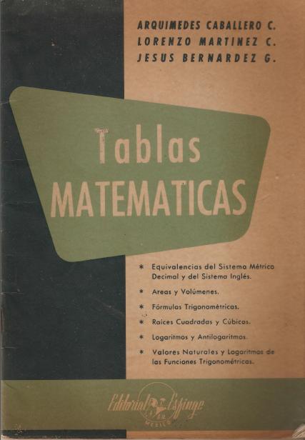 Tablas Matemáticas – Arquímedes Caballero