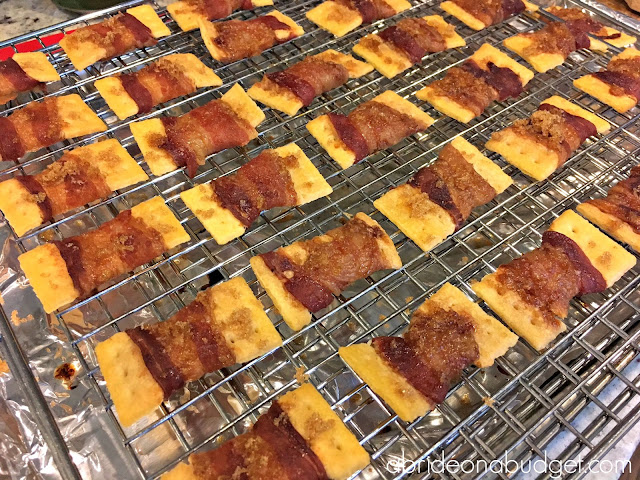 Looking for the perfect party appetizer? Make these bacon-wrapped crackers topped with brown sugar from www.abrideonabudget.com. They're great for bridal showers.