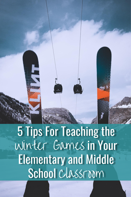 The closest thing to being there! Teach the Winter Games in your elementary and middle school classroom with 360° videos, Epic! Books, and more! #wintergames #wintersports #elementaryschool #middleschool