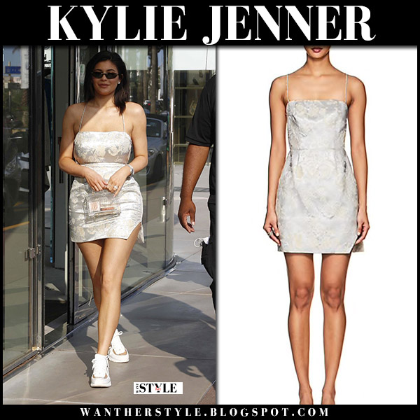 Kylie Jenner in silver metallic mini dress manning cartell and sneakers street style june 20