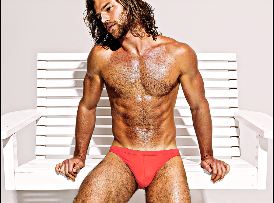 Cole Monahan looks Baywatch-ready in his red Charlie swim brief