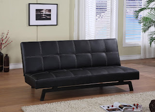 Modern Microfiber And Leather Convertible Futon Sofa Bed Delaney