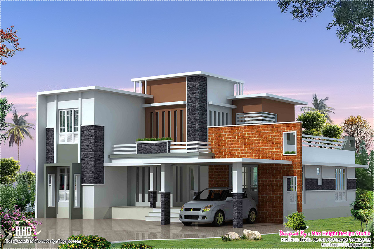 2400 modern contemporary villa kerala home for Modern square house plans