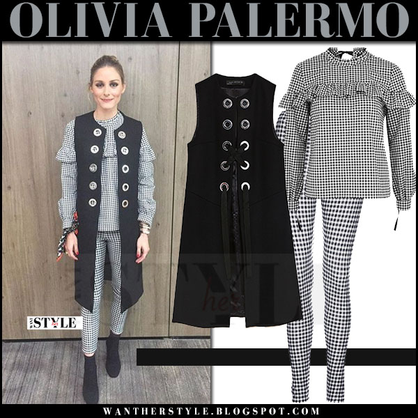 Olivia Palermo in black sleeveless zara coat and gingham print ruffle top topshop what she wore april 2017