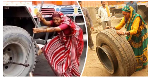 She may be able to lift heavy tires, but it's her gentle approach to life that she's become 'India's only female mechanic'