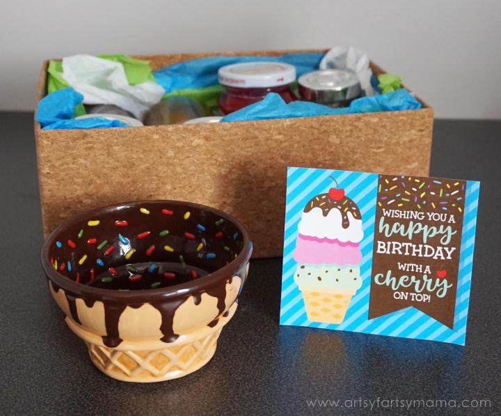 Ice Cream Sundae Birthday Gift Idea with Free Printable Birthday Card #AsYouWishPottery #whatcolorisyourfun
