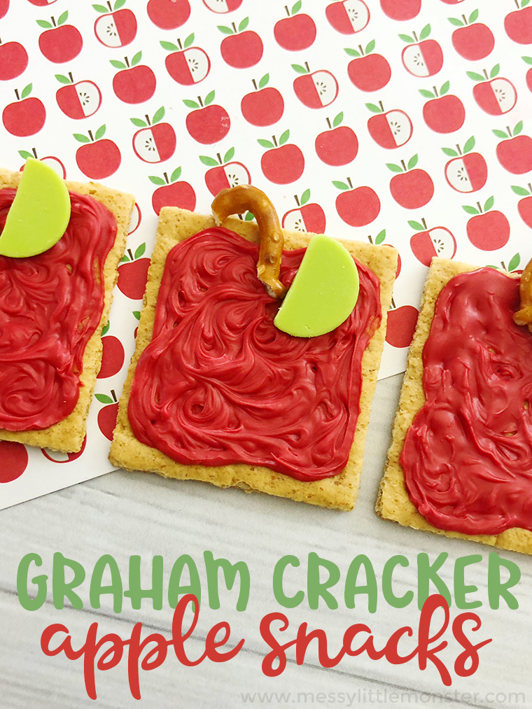 Graham cracker apple snacks - a fun back to school snack idea. These fun snacks for kids make a great back to school activity or apple activities for kids.