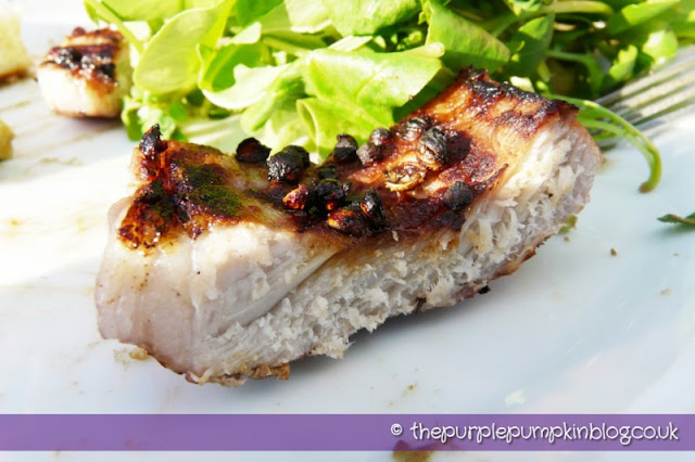 Barbecued Greek-Cypriot Afelia Pork Steaks at The Purple Pumpkin Blog