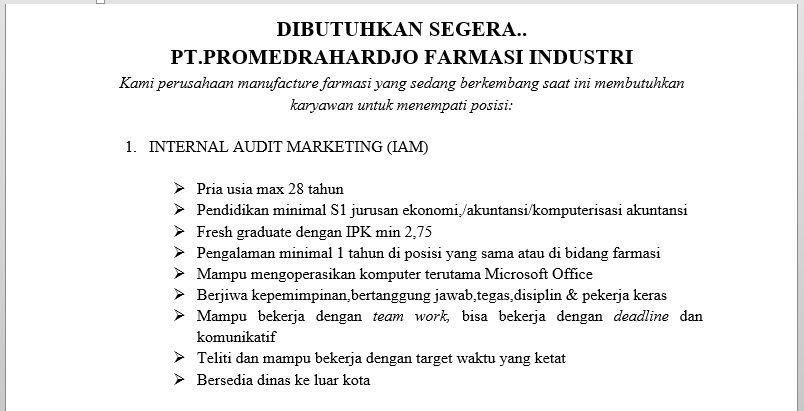 Lowongan Kerja PT. Promedrahardjo Farmasi Industri September 2016