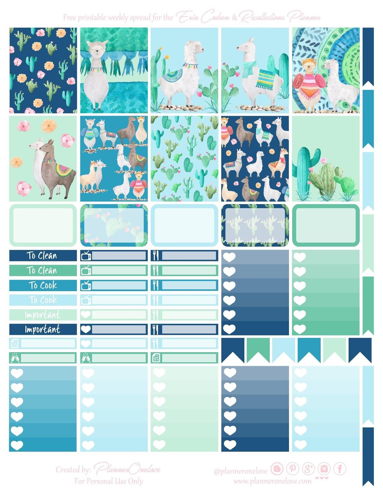 Free Llama Amp Cactus Printable Planner Spread For Ec Amp Recollections Planner Bonus Deco Sheet