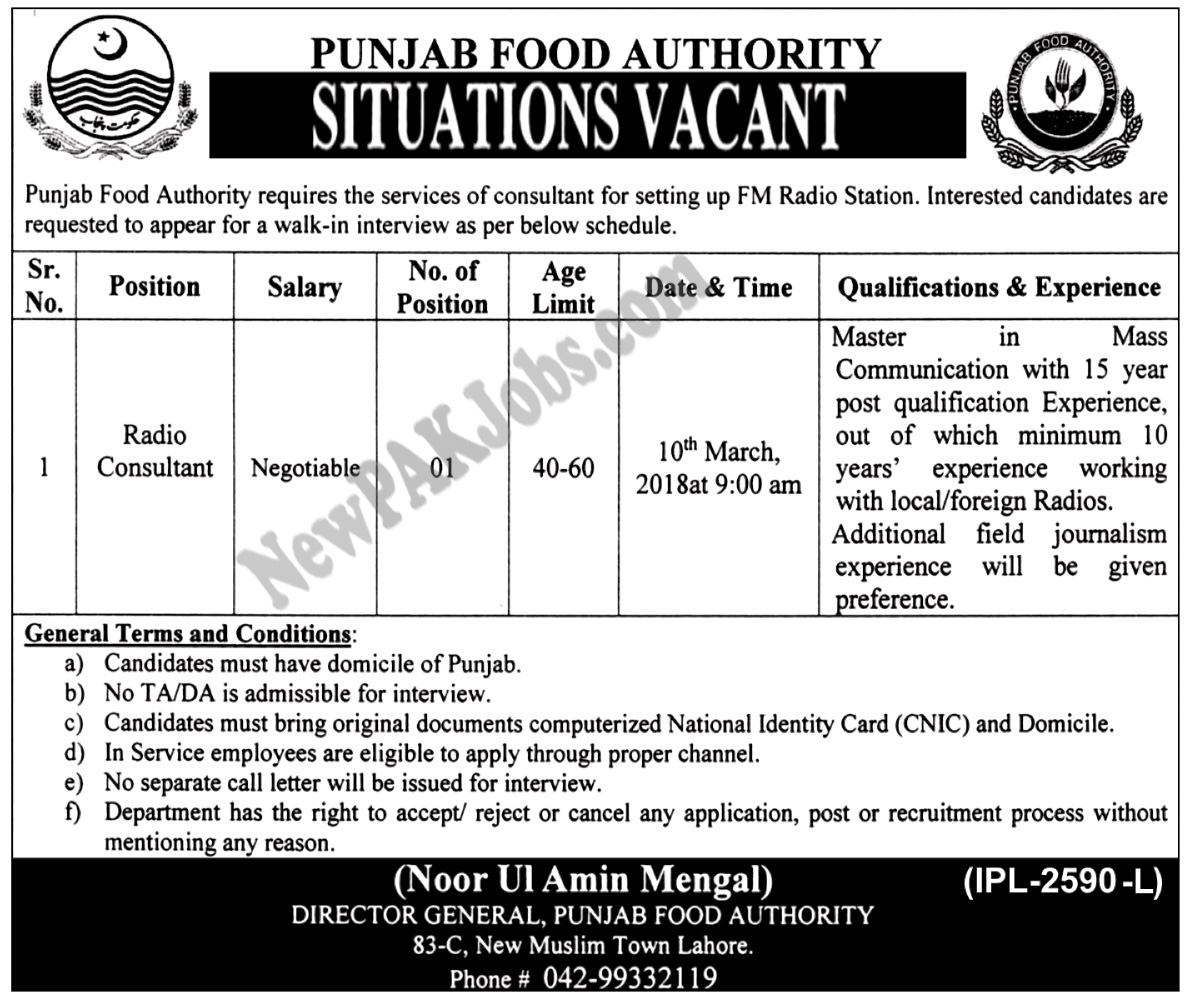 Punjab Food Authority Latest 2018, Walk in Interview
