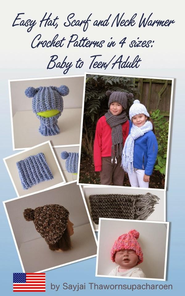784956123d10 Bonnet, écharpe et snood Crochet Patterns en 4 tailles  bébé à Ados    adultes