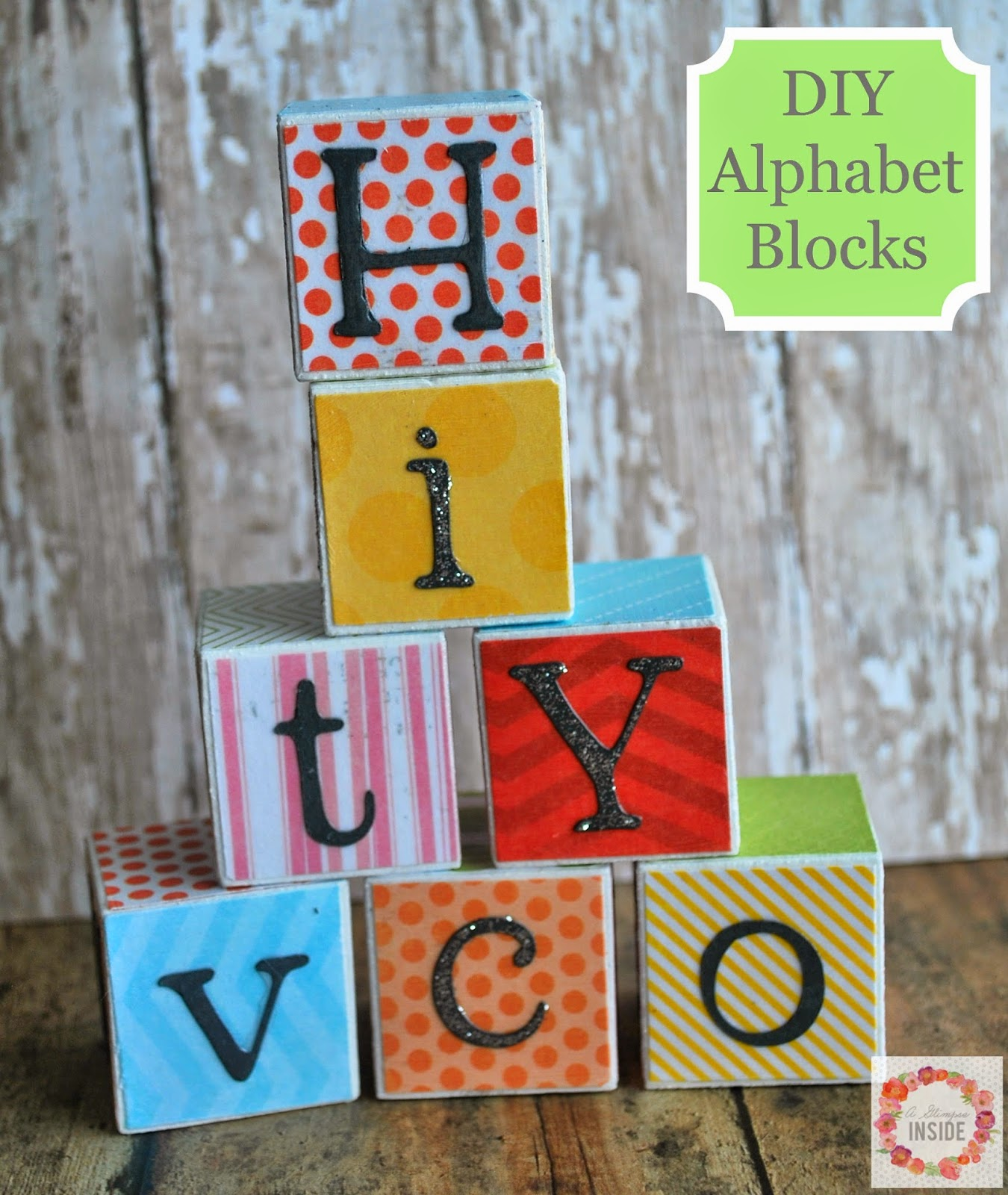 DIY Alphabet Blocks by A Glimpse Inside