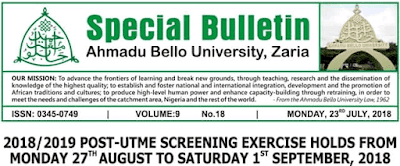 ABU Zaria 2018/2019 Post UTME & Direct Entry Screening Form Out