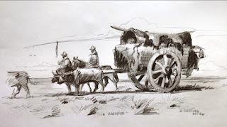 """La carreta"" (dibujo de Ricardo Rodríguez Gálvez)"