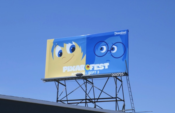 Joy Sadness Disneyland Pixar Fest billboard