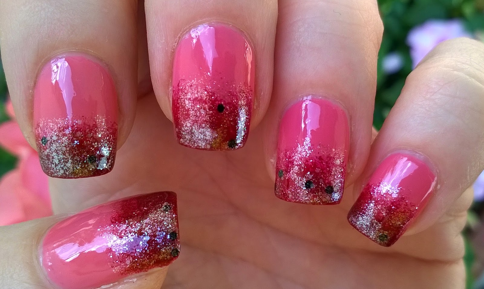 Life World Women: Pink Ombre Nail Art With Glitter Nail Polish
