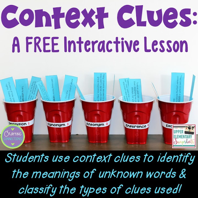 Teach context clues with this anchor chart and FREE whole group activity! Ideal lesson for the upper elementary classroom.