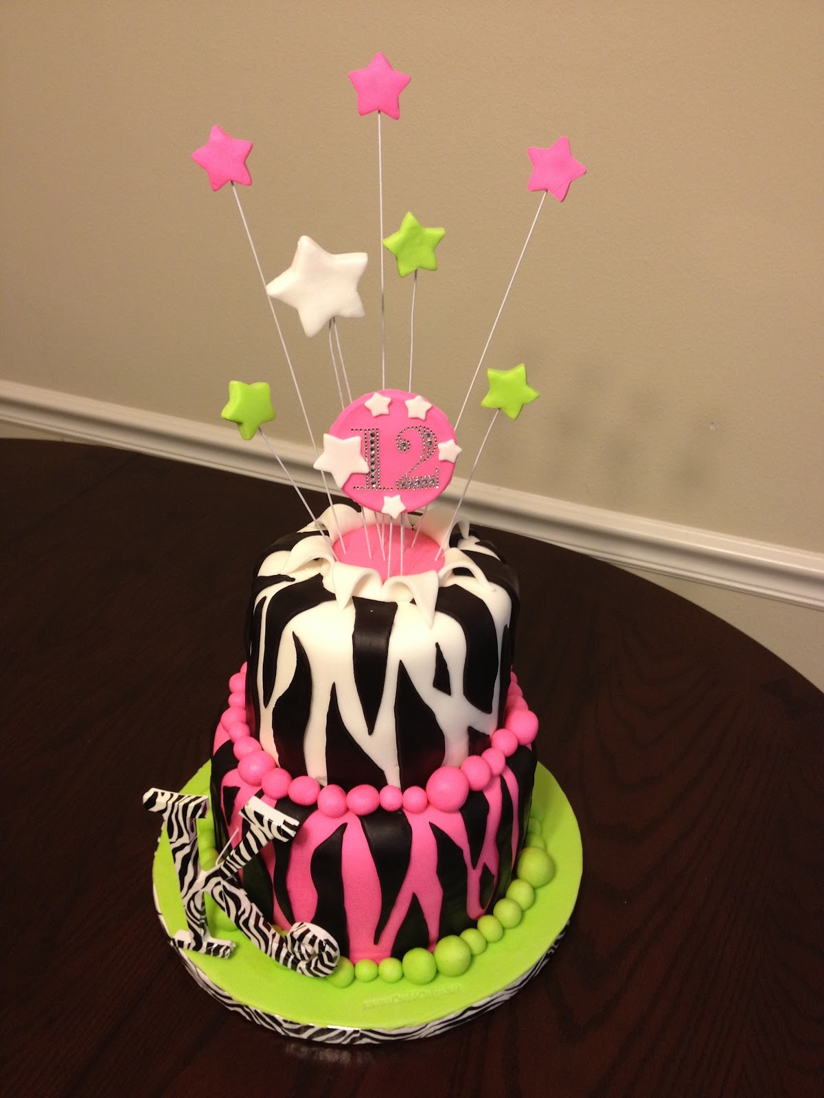 12 Year Old Girls Zebra Theme Birthday Cake