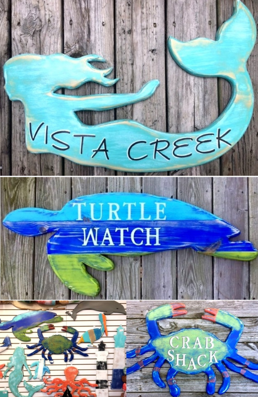 Coastal Beach Wood House Name Signs