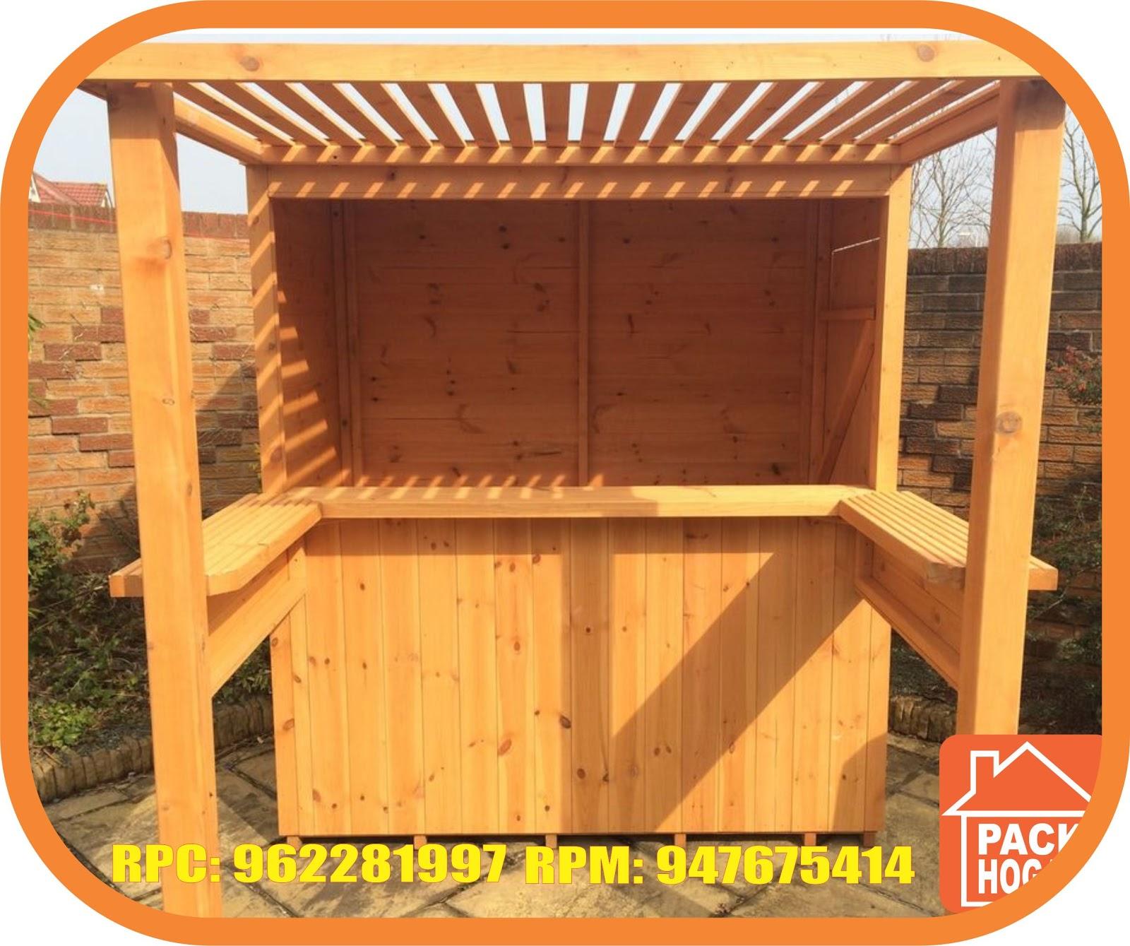 casas de campo playa de madera barra bar para jard n. Black Bedroom Furniture Sets. Home Design Ideas