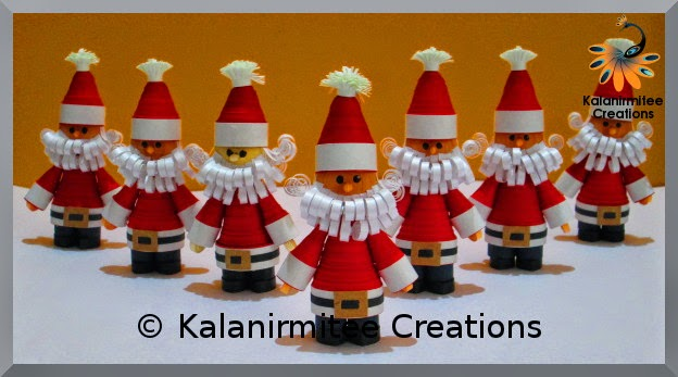 kalanirmitee: paper quilling- quilled miniatures- 3D quilling- quilled santa