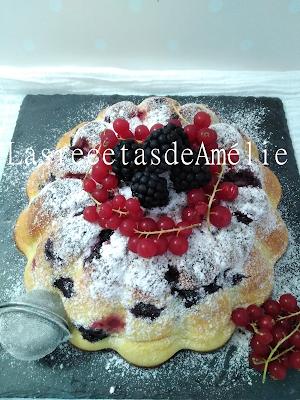Bizcocho, tarta, esponjoso, frutos rojos, Fácil, Rápido
