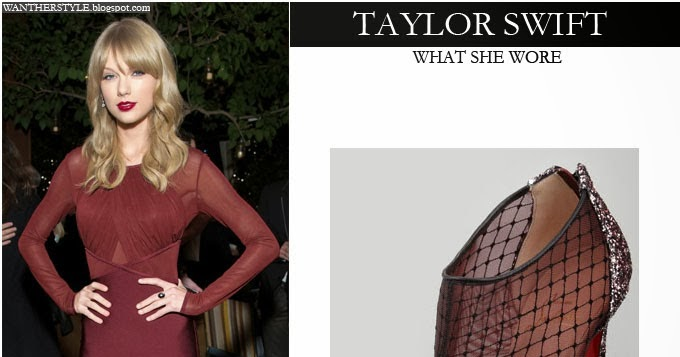 What She Wore Taylor Swift In Burgundy Long Sleeve Mesh