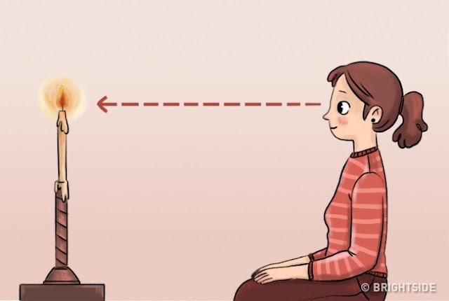 الجلوس تواجه كائن ثابت صغير وضعت في مساحة مفتوحة (شمعة، على سبيل المثال). ركز عينيك وكل اهتمامكم عليه. حاول عدم وميض. يجب أن تهدف إلى الحصول على صورة حازمة ومفصلة للكائن في عقلك والذاكرة.