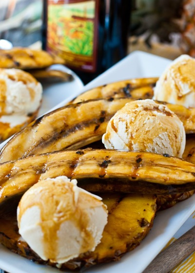 Grilled Bananas & Pineapple With Rum-Molasses Glaze